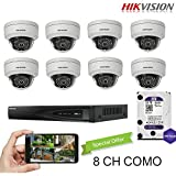 Hikvision 8CH Combo: 8 x 4MP High Defination IP Dome Cameras(DS-2CD2142FWD-I) Security System, 8 Channel NVR (DS-7608NI-E2/8P) With 2TB WD Purple HDD Installed, Built-in PoE Plug and Play, Hikvision Camera and NVR US English Version [Ships from Canada]