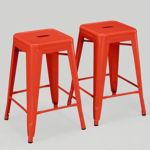 Set of 2 Orange Tolix Style Metal Counter Stools in