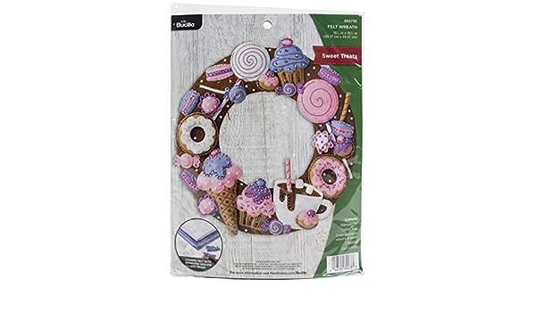 Bucilla 89273E Felt Applique Christmas Wreath Kit 15.5 x 15.5 Sweet Treats