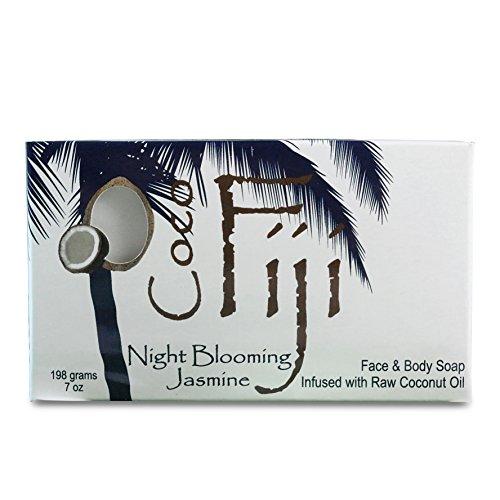 Bar Soap Jasmine - Coco Fiji, Coconut Oil Infused Soap, Night Blooming Jasmine 7oz