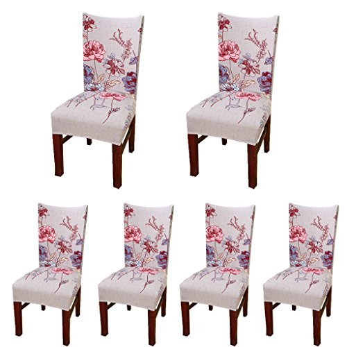 Deisy Dee Stretch Chair Cover Removable Washable for Hotel Dining Room Ceremony Chair Slipcovers Pack of 6 (J) (Slipcovers Kitchen Table Chair)