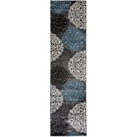 Contemporary Modern Floral Indoor Soft Runner Rug 2 x 72 Gray