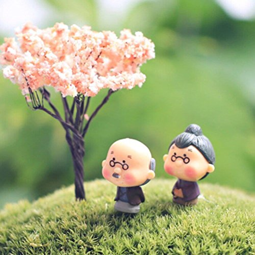 CosCosX Miniature Fairy Garden Grandpa&Grandma Ornament Bonsai Doll Dollhouse Plant Pot Figurine DIY Outdoor Desktop Decor Crafts Home Decoration