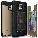 Galaxy Note 4 Case, TORU [Note 4 Wallet Case Gold] Protective Slim Fit Dual Layer Hidden Credit Card Holder ID Slot Card Case with Mirror for Samsung Galaxy Note 4 - Gold