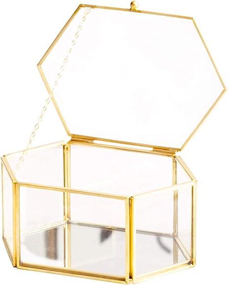 Levilan Caja de joyería Vintage Dorada de Cristal facetado ...