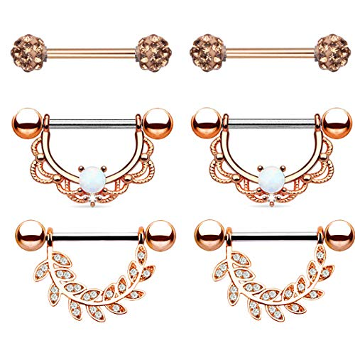 TOPBRIGHT 3 Styles Stainless Steel Opal Nipple Rings 14G CZ Crystal Nipple Piercing Jewelry for Women (Rose Gold)