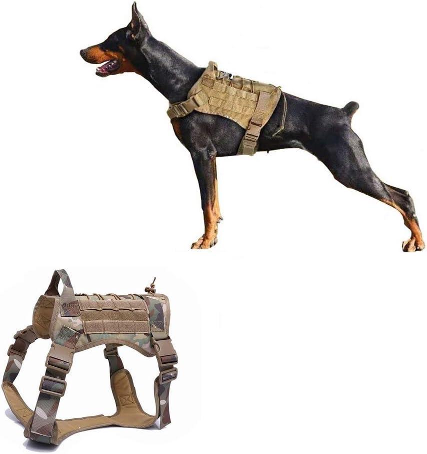 Ducomi Arnés Táctico Militar para Perro K9, Perros de Entrenamiento y de Trabajo - Arnés Chaleco para Perros Medianos, Grandes, Pastor Alemán, Pitbull, Rottweiler (Camo, M)