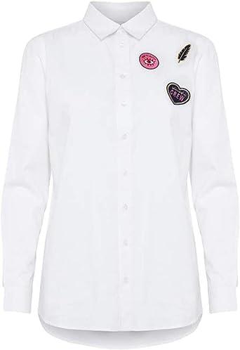 BlendShe Camisa Canas Bordado Blanco XL Blanco: Amazon.es: Ropa y accesorios
