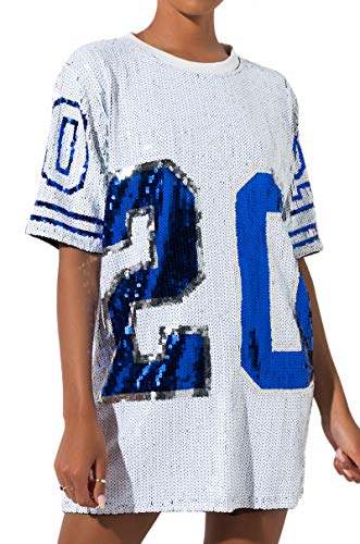 AKIRA Women's All Over Sequin 20 Sparkly Football Jersey Dress-White Multi_O/S -