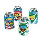 Fun Express - Winter Intl Games Emoji Can Covers - Party Supplies - Drinkware - Can & Bottle Insulators - 12 Pieces