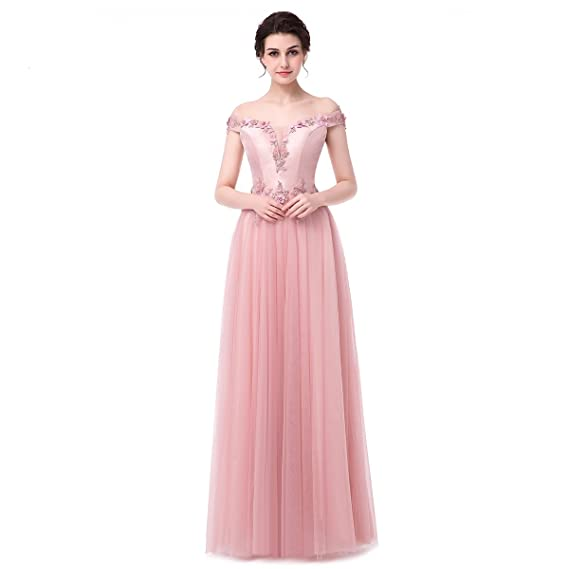 Pretee New Luxury Evening Dress Pink Satin with Tulle Boat Neck Lace Flower Long Prom Dress