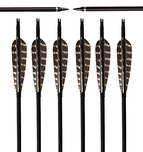 ARCHERY SHARLY [Pack of 6] 31Inch Carbon Targeting Practice Arrows Turkey Feather Fletching Arrows with Removable Tips for Recurve Traditional Long Bow]()