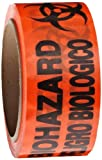 Roll Products 142-0006 PVC Film Biohazard Warning Tape with Black Imprint, Legend ''Biohazard - Peligro Biologico'' (with Logo), 55 yd. Length x 2'' Width, 3'' Diameter Core Roll, for Identifying and Marking, Fluorescent Red/Orange