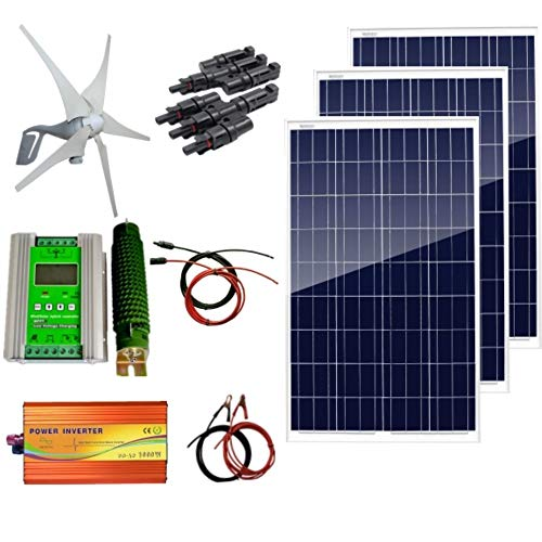 AUECOOR 12V 700W Hybrid System Kit: 400W Wind Turbine Generator & 3100W Poly Solar Panel+ 1000W Pure Since Wave Inverter(Peak 2000W)+Accessories for Home use ()