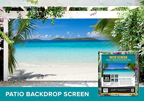 Tropical Ocean Front Patio & Gazebo Backdrop Screen 9-ft