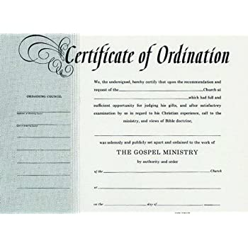 Amazon.com : Certificate-Ordination-Minister-Billfold Size : Office ...