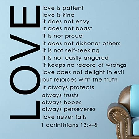 Wonderful Love Is Patient Love Is Kind   Bible Quote   Removable Vinyl Wall Decal  (Black