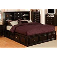 Yorkville Espresso Storage Bookcase Queen Platform Bed