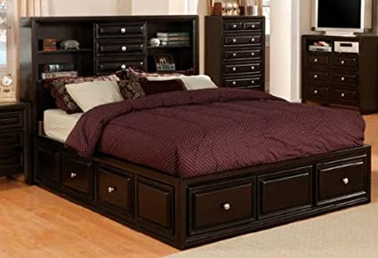 Image Unavailable Image Not Available For Color Yorkville Espresso Storage Bookcase Queen Platform Bed