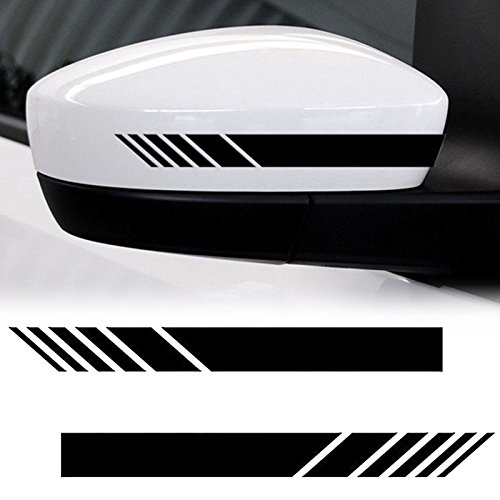 Xotic Tech 2pcs Black Racing Style Vinyl Decals Rearview Mirror Stripe Stickers for Mercedes Benz W204 W212 C Class etc.