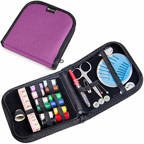 Kompaktes Nähset in praktischer Tasche 42 tlg. von Washati® - Ideal Für Reisen, Notfälle, Camping (Lila, Kompakt)