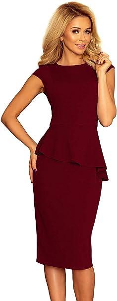 Numoco Kleid Midikleid Etuikleid Abendkleid Schößchen Veloursleder-Optik