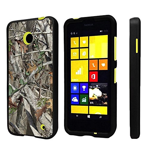 (Premium Protection Slim Light Weight 2 Piece Snap On Non-Slip Matte Hard Shell Rubber Coated Rubberized Phone Case Cover with Design for Nokia Lumia 635 630 (Window Phone) - Autumn Camouflage)