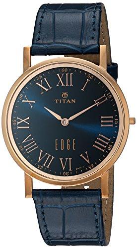 Titan Men's 'Edge' Quartz Stainless Steel and Leather Watch, Color Blue (Model: (Titan Edge)