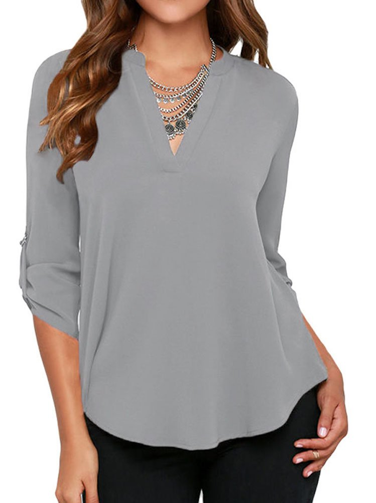 roswear Women's Casual V Neck Cuffed Sleeves Solid Chiffon Blouse Top Grey XX-Large by roswear (Image #1)