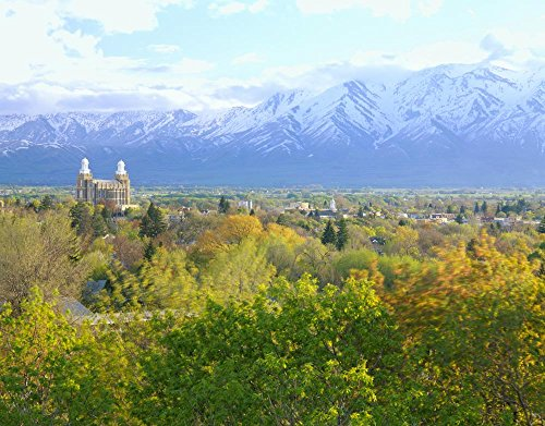 Wallmonkeys Utah Usa Logan City & Cache Valley at Sunset Logan Lds Temple & Wellsville Mountains in Distance Peel and Stick Wall Decals WM327587 (36 in W x 28 in (City Of Logan)