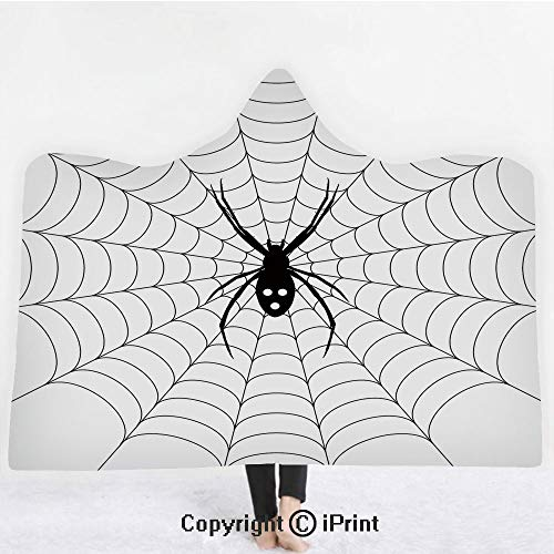 Spider Web 3D Print Soft Hooded Blanket Boys Girls Premium Throw Blanket,Poisonous Bug Venom Thread Circular Cobweb Arachnid Cartoon Halloween Icon Decorative,Lightweight Microfiber(Kids 50