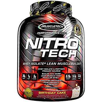 MuscleTech NitroTech Protein Powder Plus Muscle Builder, 100% Whey Protein with Whey Isolate, Vanilla Birthday Cake, 40 Servings (4lbs)