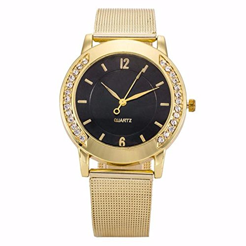 Price comparison product image Outsta Fashion Women Girl Crystal Golden Stainless Steel Analog Quartz Wrist Watch (C)