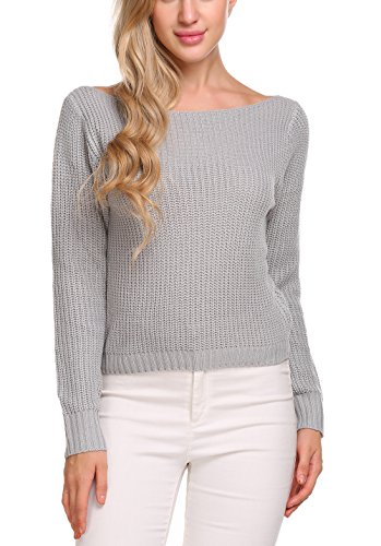 Long Sleeve Boatneck Top (Aceshin Women's Fitted Long Sleeve Crewneck Knitted Sweater Crop Tops Pullover Jumpers)