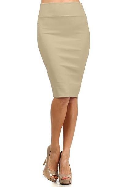 9ac215f3b3f2ed Women's Fitted High Waist Basic Midi Pencil Skirt at Amazon Women's ...