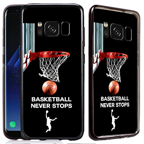 [TeleSkins] - Samsung Galaxy S8 PLUS Shiny Soft Electroplated TPU Case - Basketball Never Stops - Ultra Durable Soft, Slim Fit, Protective Silicone TPU Snap On Back Case / Cover (Fits 6.2