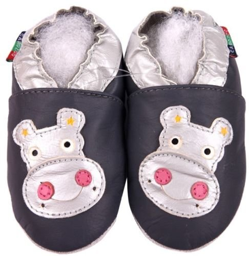 Carozoo Hippo Grey S Baby Boy Soft Sole Leather Shoes Grey