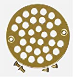 Plumbest D54-010 Decorative Shower Stall Drain Replacement Strainer with Screws, Polished Brass