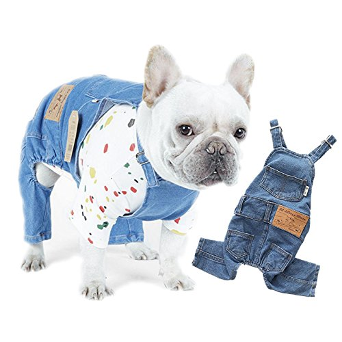 Leowow Pet Dog Denim Clothes Small Dogs Cowboy Overalls Classic Puppy Vintage Clothes Cat Apparel
