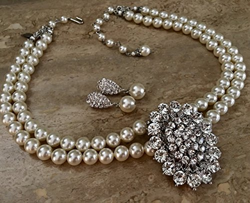 Pearl Necklace with Brooch and Earrings Set Bridal Necklace Wedding Jewelry 2 double strands Swarovski pearls Cream Ivory or your color choice by Alexi Blackwell Bridal -