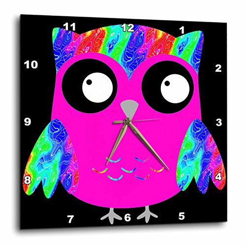 3dRose dpp_78329_2 Cute Psychedelic and Neon Pink Sixties Owls-Wall Clock, 13 by (Pink Neon Wall Clock)