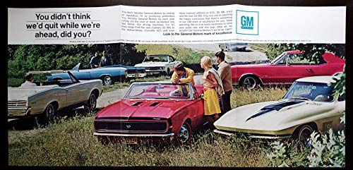 Original Magazine Print Ad Poster: 1967 General Motors Driving Machines for '67, Pontiac GTO Convertible, Chevy SS 396/Camaro SS 350, Buick GS-400 Sport Coupe, Oldsmobile 442 Holiday Coupe, Chevrolet Corvette 427 Sport Coupe, 11 X 31 inches,