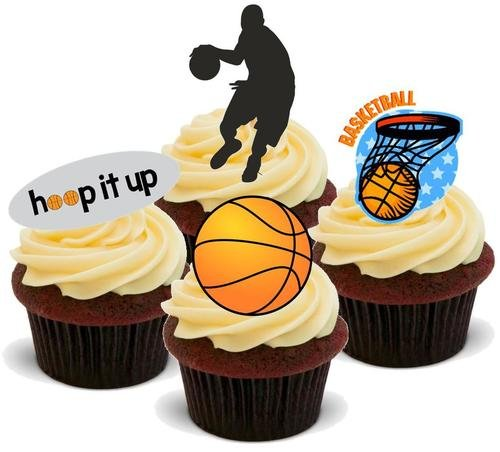 BASKETBALL MIX - 12 Edible Stand Up Premium Wafer Cake Toppers ...