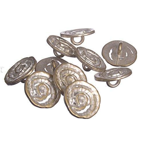 Zinc Diecasted Metal Shank Button - Spiral Coil Pattern - 24 Line - Silver Brass