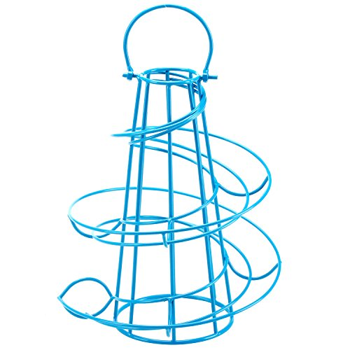 Modern Spiral Design Freestanding Metal Egg Skelter Holder Stand and Dispenser, Blue
