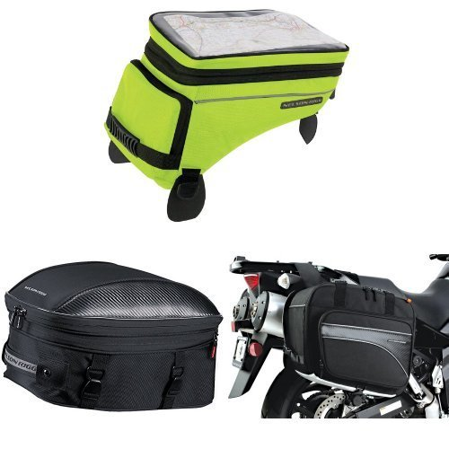 Nelson-Rigg (CL-1055 Hi-Visibility Yellow Adventure Touring Tank Bag, CL-1060-ST Black Sport Touring Tail/Seat Pack, and (CL-855) Black Touring Adventure Saddlebag Bundle ()