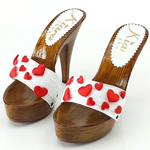 Sabot kiara shoes 13 Talon avec K9101C Bianco 5x4naxw