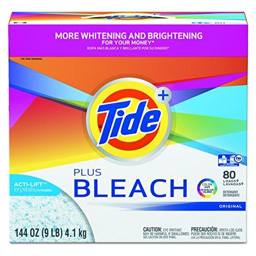 Tide Plus Bleach Powder Laundry Detergent, Original, ( 144 Ounce  , 80  Loads Each), 2 Count