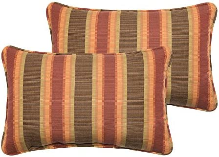Mozaic Company Sunbrella Indoor Outdoor 12 by 18-inch Corded Pillow, Dimone Sequoia, Set of 2