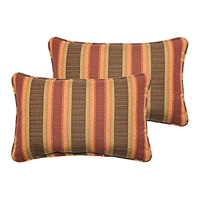 Mozaic Company Sunbrella Indoor/ Outdoor 12 by 18-inch Corded Pillow, Dimone Sequoia, Set of 2 - Color:  Sunbrella Autumn Stripe Materials: Acrylic fabric, filled with 100% recycled polyester fiber Weather, mildew, fade and stain resistant with UV protection - patio, outdoor-throw-pillows, outdoor-decor - 510DTC NBDL. SS400  -